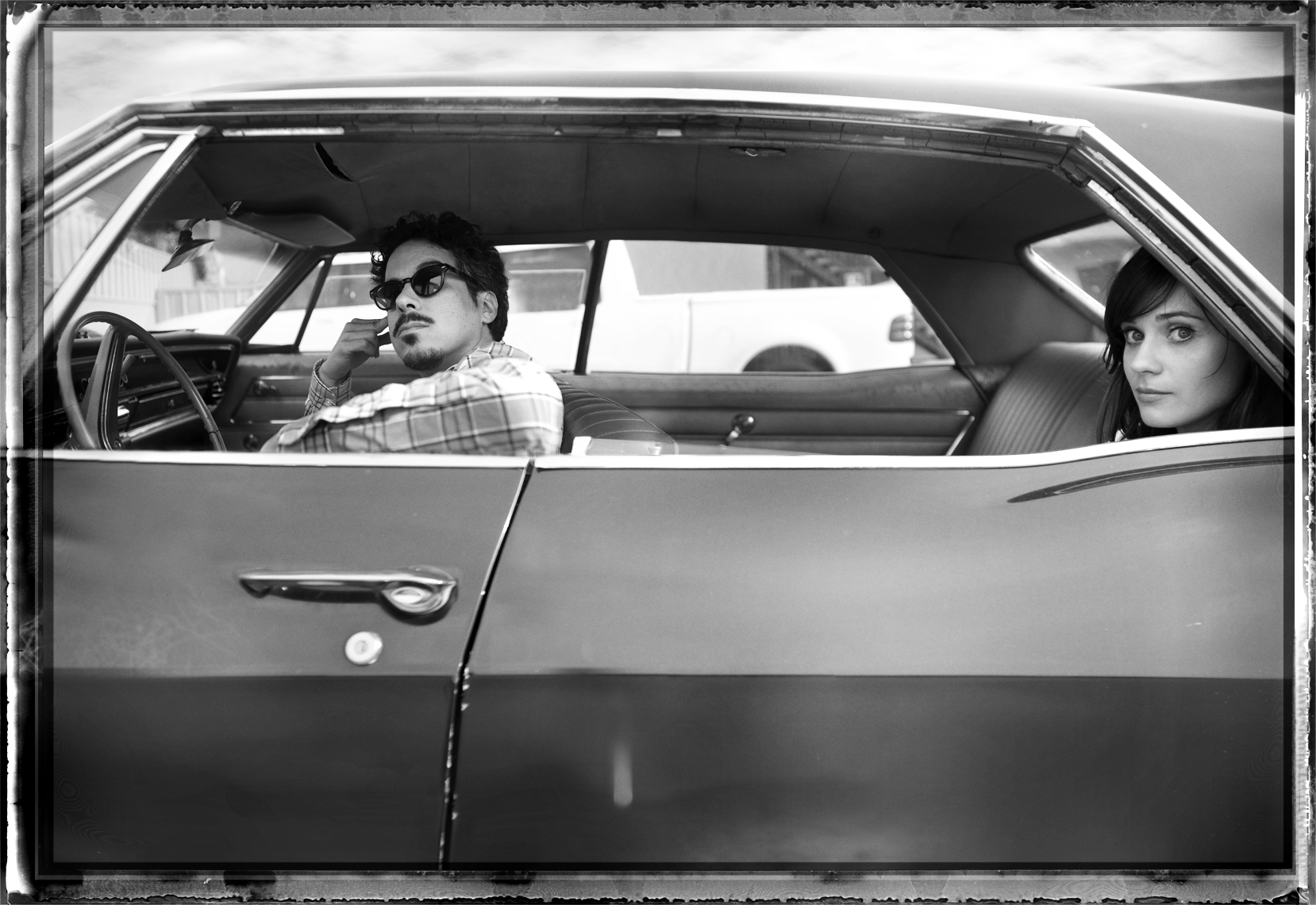 wShe_and_Him_Car_BW